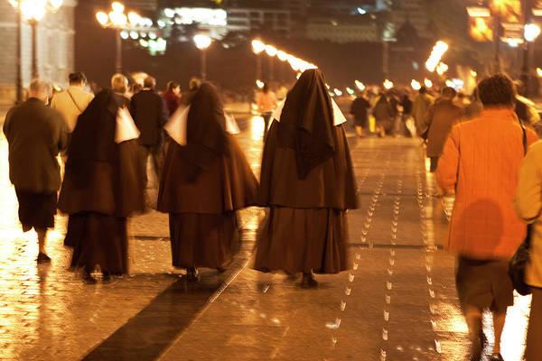 Photograph - Rainy Night Nuns by Lorraine Devon Wilke