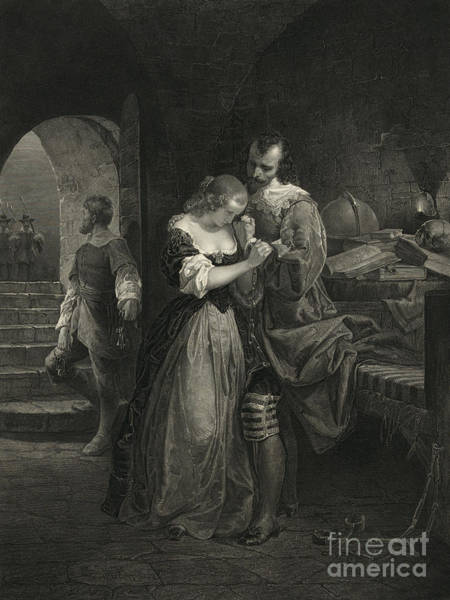 Roanoke Island Wall Art - Photograph - Raleigh Parting With Wife, 16th Century by Photo Researchers