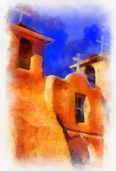 Digital Art - Ranchos Church Towers - Aquarell by Charles Muhle