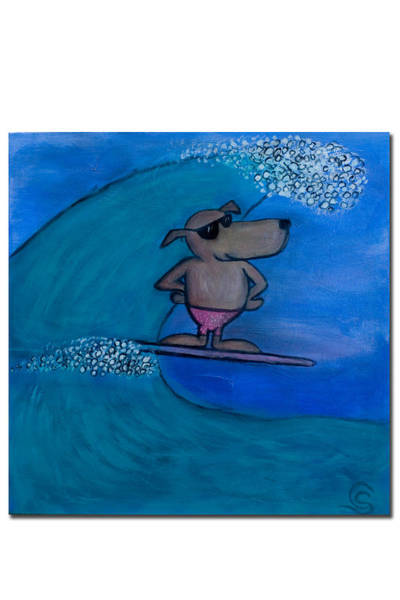 Mojo Painting - Rastus The Surfing Dog by Clint  B  Smith