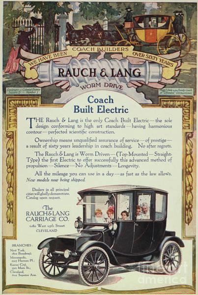 Rauch Wall Art - Photograph - Rauch & Lang Auto Ad, 1914 by Granger