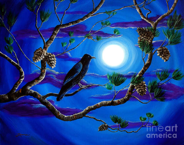 Full Moon Painting - Raven In Pine Tree Branches by Laura Iverson