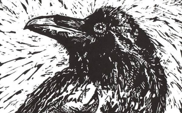 Linoleum Mixed Media - Raven by Julia Forsyth