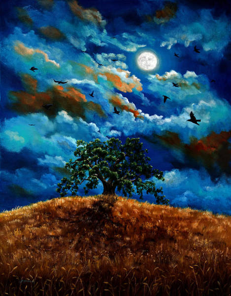 Full Moon Night Painting - Ravens In A Moonlit Landscape by Laura Iverson