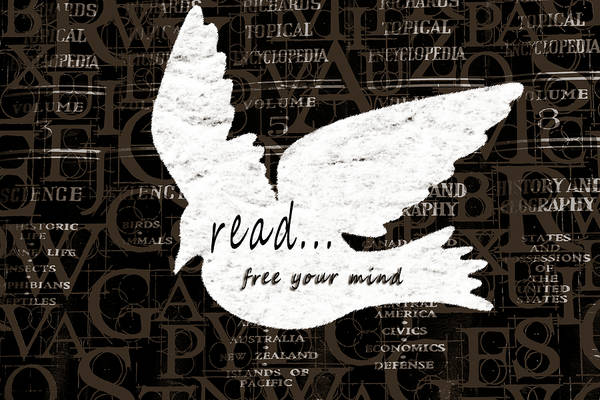 Mixed Media - Read Free Your Mind Brown by Angelina Tamez