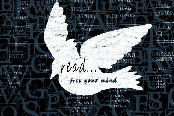 Teal Mixed Media - Read Free Your Mind Teal by Angelina Tamez