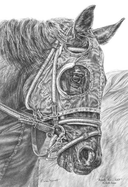 Drawing - Ready Set Go - Race Horse Portrait Print by Kelli Swan