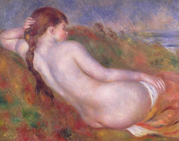 Annenberg Painting - Reclining Nude In A Landscape by Pierre Auguste Renoir