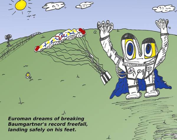 Space Exploration Mixed Media - Record Freefall Euroman Cartoon by OptionsClick BlogArt