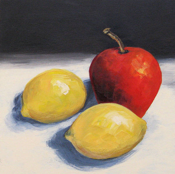 Wall Art - Painting - Red Apple And Two Lemons by Torrie Smiley