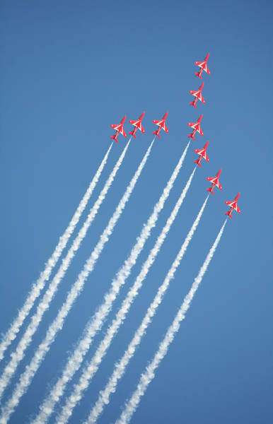 Photograph - Red Arrows In Action by Paul Cowan