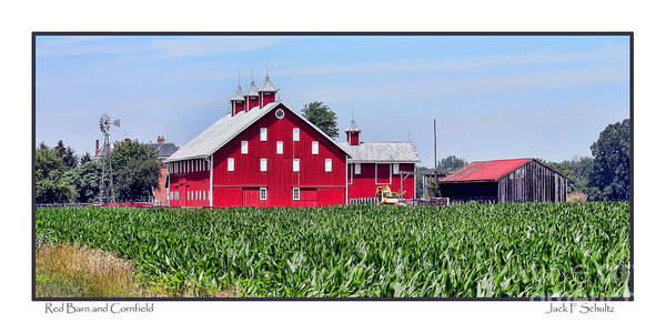 Wall Art - Photograph - Red Barn And Cornfield by Jack Schultz