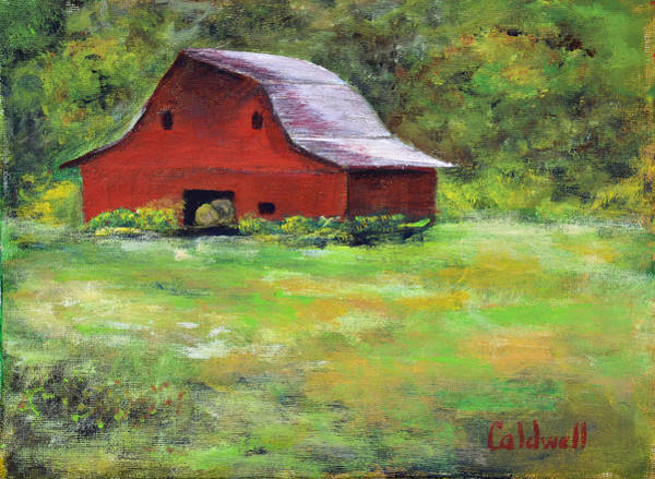 Wall Art - Painting - Red Barn In Meadow by Patricia Caldwell