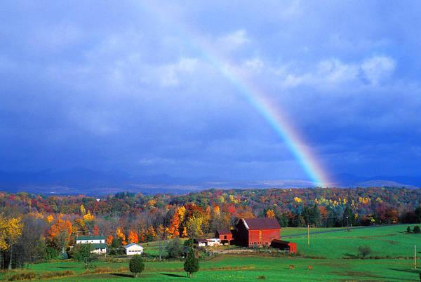 Photograph - Red Barn Rainbow by Larry Landolfi