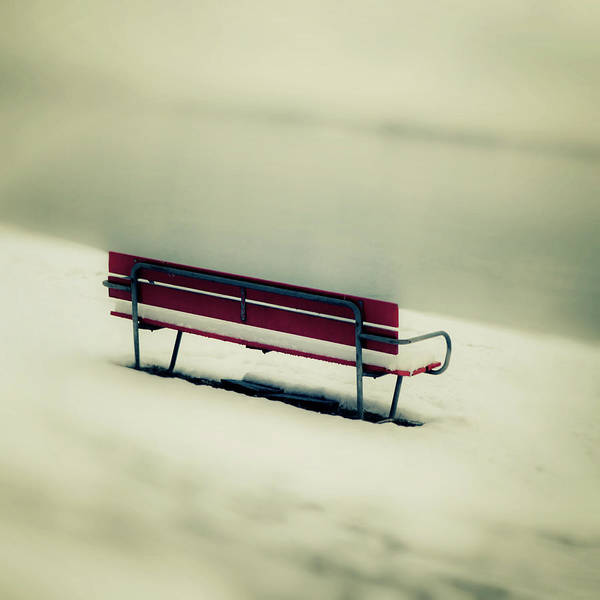 But Photograph - Red Bench by Joana Kruse
