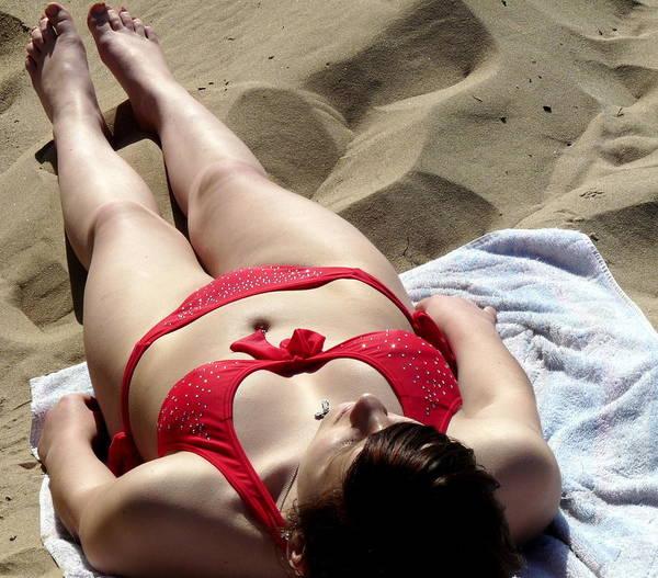 Photograph - Red Bikini 2 by Jeff Lowe