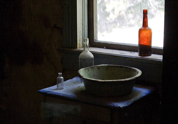 Photograph - Red Bottle Night Stand by Lorraine Devon Wilke