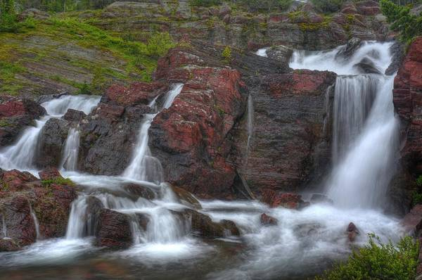 Red Wolf Photograph - Red Boulder Waterfall by Don Wolf