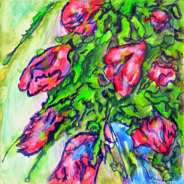 Wall Art - Painting - Red Bouquet Sketch by Laura Heggestad