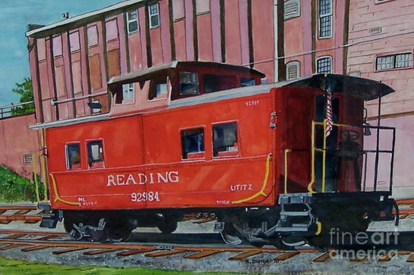 Red Caboose Painting - Red Caboose by Bart Dunlap