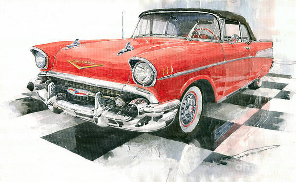 Auto Wall Art - Painting - Red Chevrolet 1957 by Yuriy Shevchuk