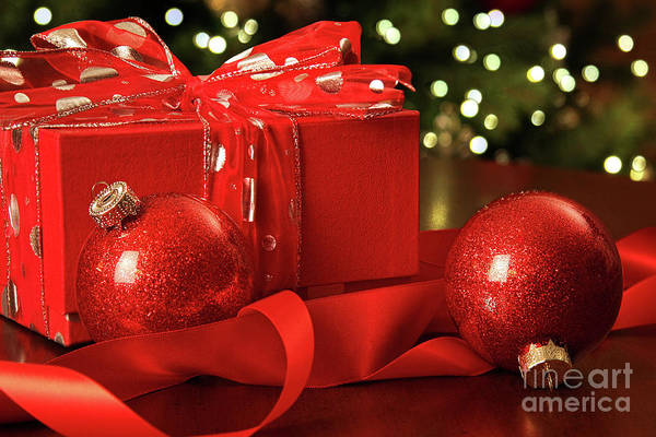 Gift Wrap Photograph - Red Christmas Gift With Ornaments  by Sandra Cunningham