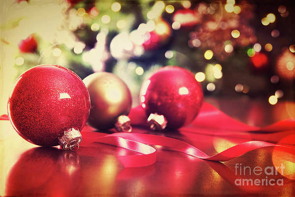 Wall Art - Photograph - Red Christmas Ornaments With Vintage Look  by Sandra Cunningham