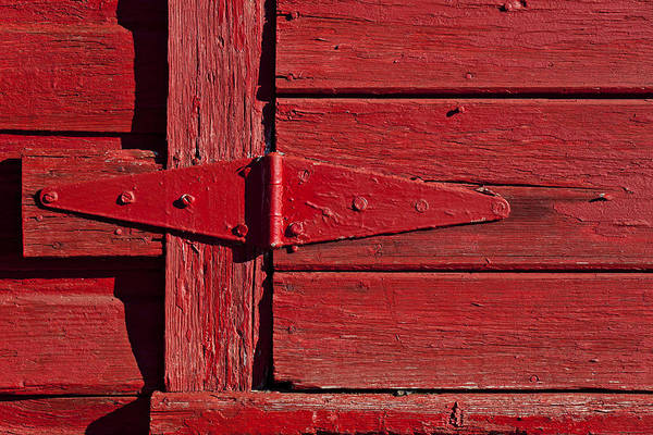 Hinges Photograph - Red Door Henge by Garry Gay