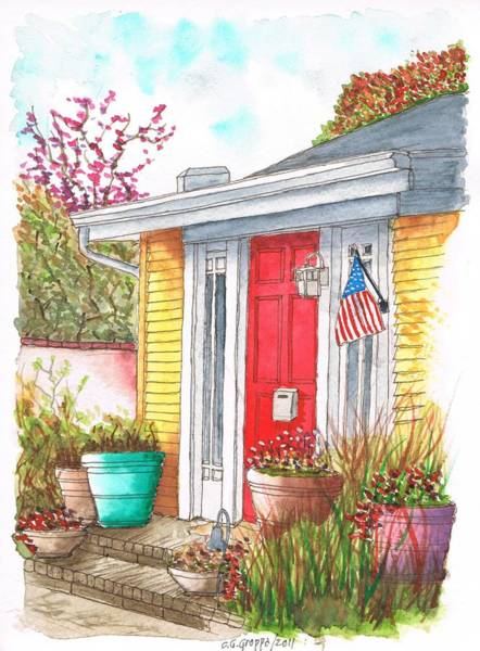 Acuarela Painting - Red Door In West Hollywood - California by Carlos G Groppa