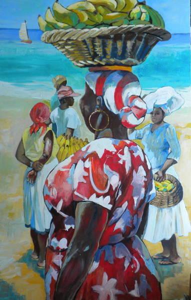 Caribbean Wall Art - Painting - Red Dress by Jan Farara