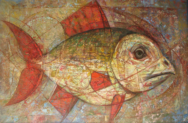 Wall Art - Painting - Red Fins. 2007 by Yuri Yudaev-Racei