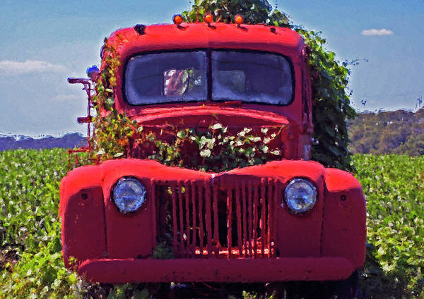 Pick Up Truck Digital Art - Red Firetruck Face by Michael Thomas