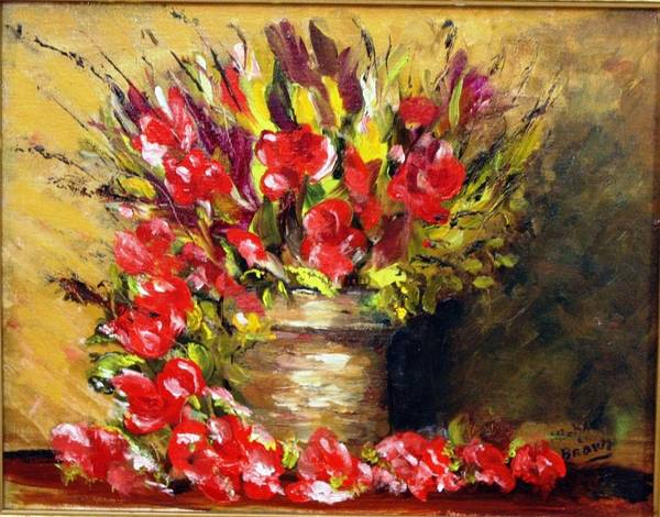 Wall Art - Painting - Red Flowers In Pot by Michael L Brown