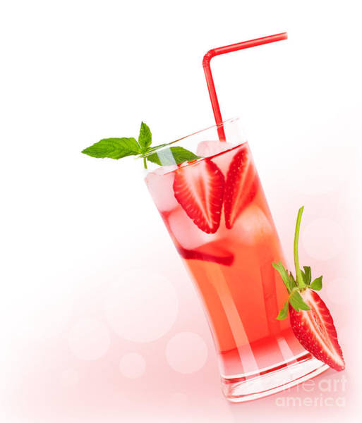 Soda Straws Photograph - Red Fruity Cocktail Border by Anna Om