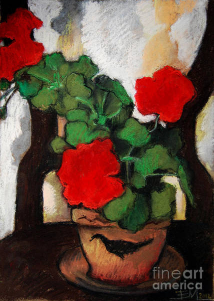 Red Geraniums Wall Art - Pastel - Red Geranium by Mona Edulesco