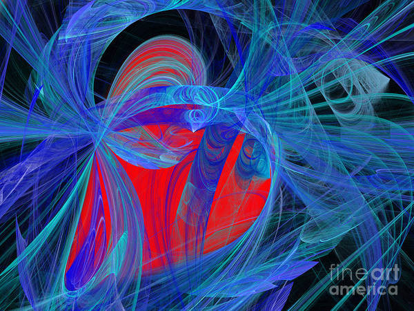 Digital Art - Red Heart Blue Lace by Andee Design