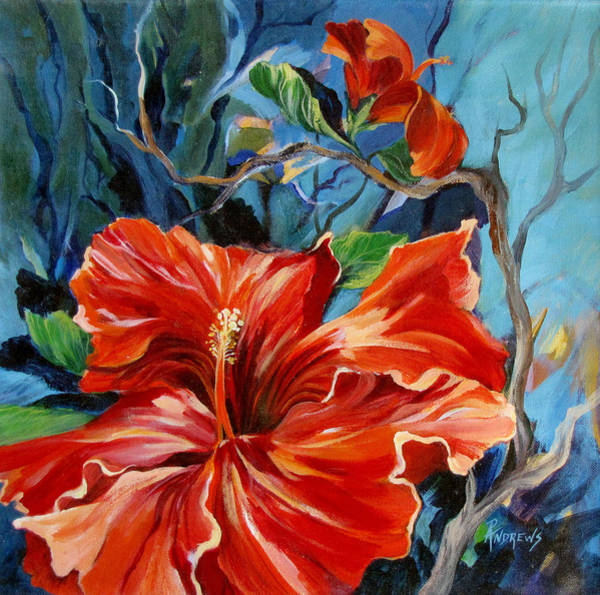 Hibiscus Flower Painting - Red Heart by Rae Andrews