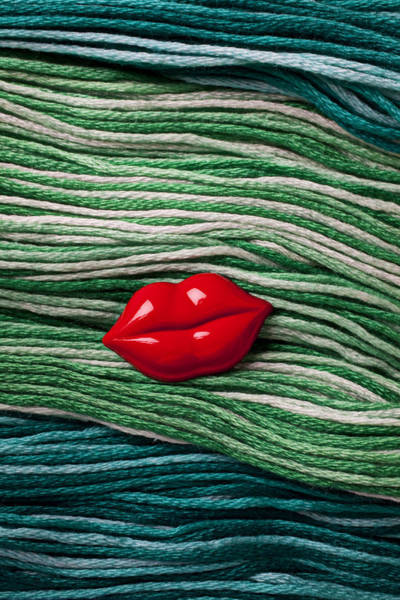 Wall Art - Photograph - Red Lips Button On Thread by Garry Gay