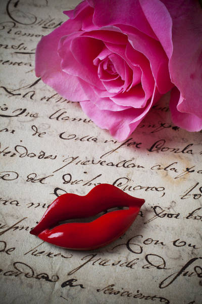 Love Notes Wall Art - Photograph - Red Lips On Letter by Garry Gay