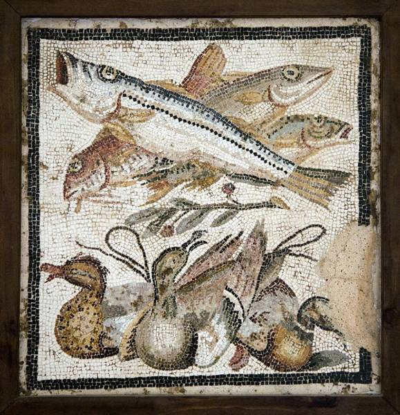 Duck Meat Photograph - Red Mullets And Ducks, Roman Mosaic by Sheila Terry