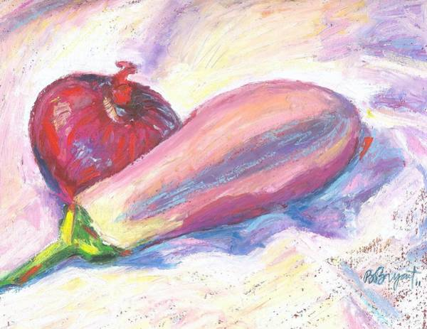 Red Onion Painting - Red Onion And Eggplant by Bethany Bryant