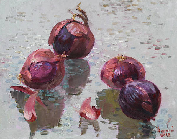 Wall Art - Painting - Red Onions by Ylli Haruni