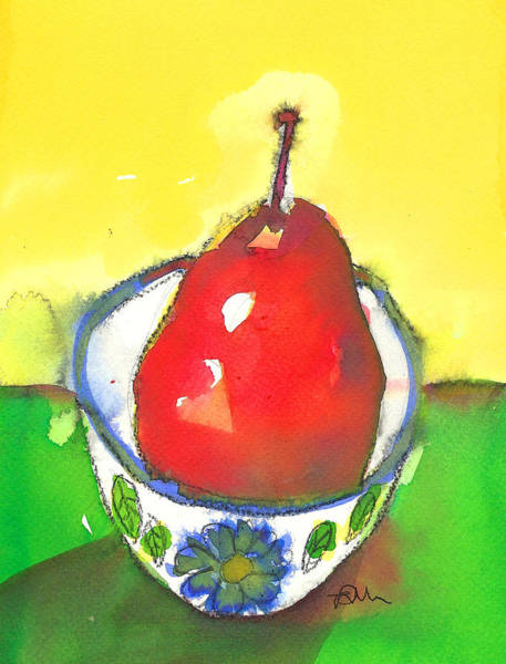 Painting - Red Pear In Blue Floral Bowl by Tracy-Ann Marrison