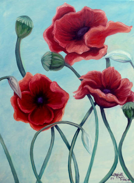 Wall Art - Painting - Red Poppies by Lorraine Davis Martin
