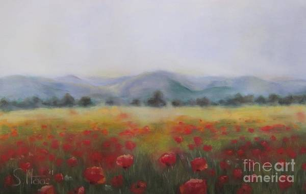 Wall Art - Painting - Red Poppy Field by Sabina Haas