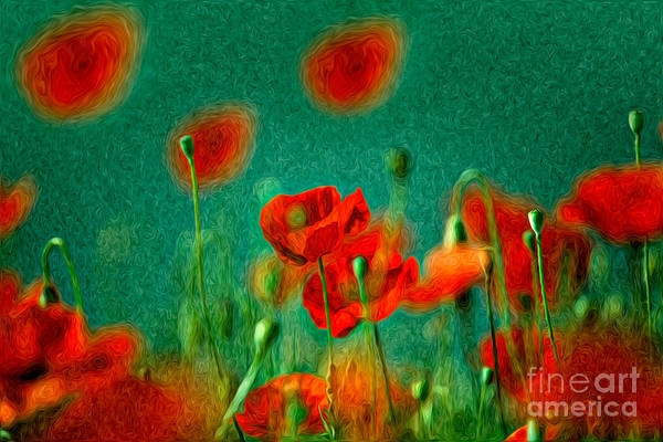 Background Painting - Red Poppy Flowers 07 by Nailia Schwarz