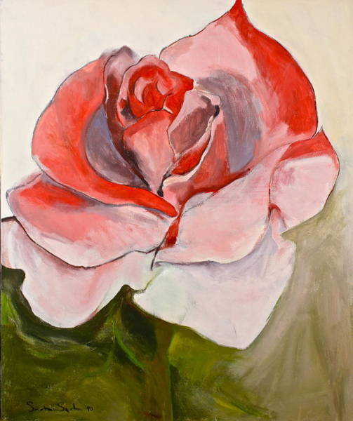 Painting - Red Rose-2-posthumously Presented Paintings Of Sachi Spohn  by Cliff Spohn