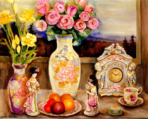 Angelic Beings Painting - Red Roses Yellow Daffodils In Hand Painted Oriental Antique Vases With Fruit Plate Doves And Angels by Carole Spandau