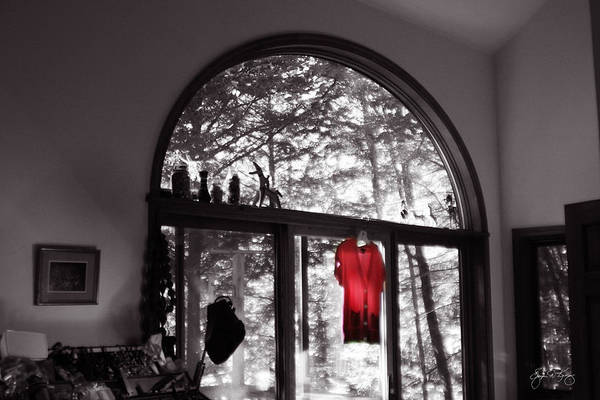 Photograph - Red Shirt In An Arched Window by Wayne King