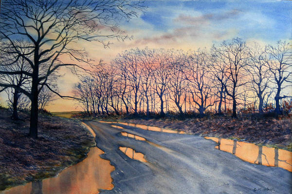Painting - Red Sky On The Road From Sledmere by Glenn Marshall